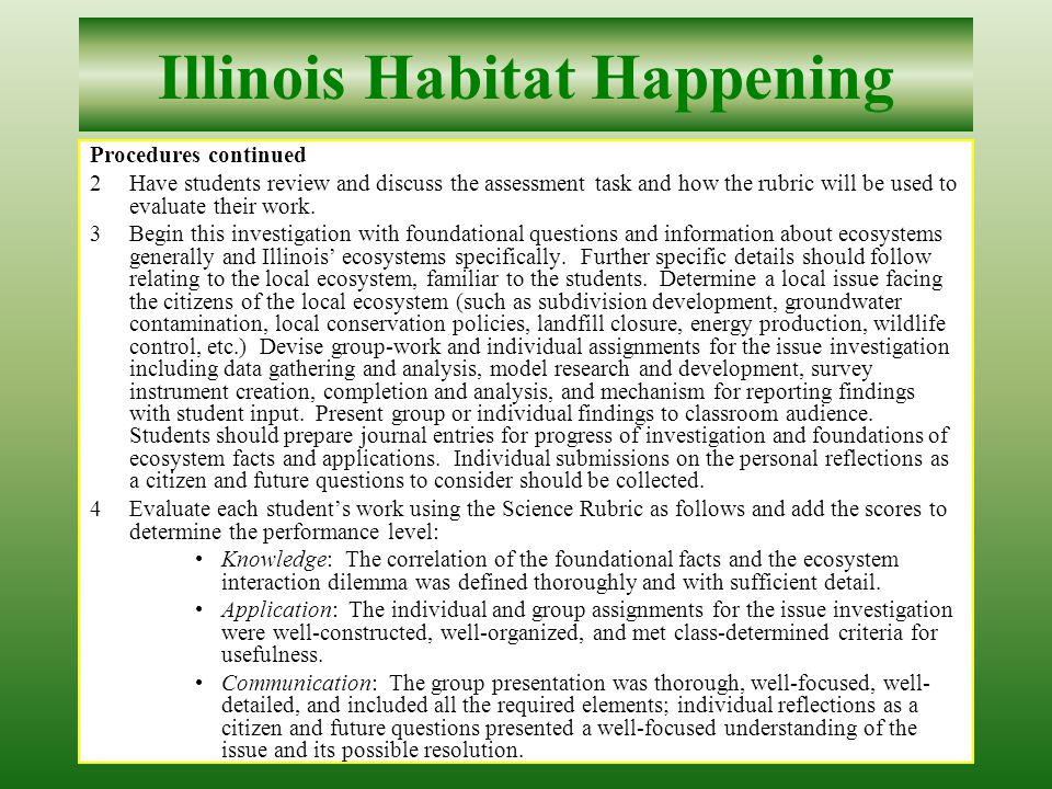 32 Illinois Habitat Happening Procedures continued Select applicable conceptual, mathematical or physical models for utility.