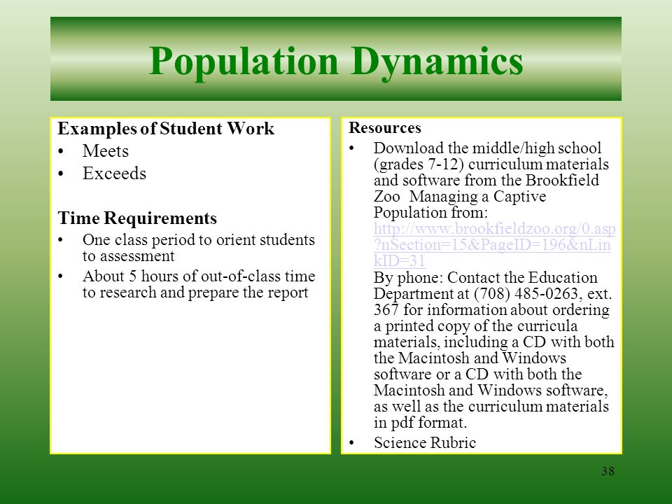 37 Population Dynamics Procedures continued 2Have students review and discuss the assessment task and how the rubric will be used to evaluate their work.