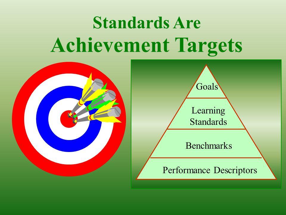 Standards Are Achievement Targets Learning Standards Performance Descriptors Goals Benchmarks