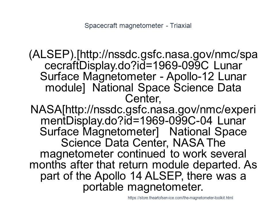 Spacecraft magnetometer - Triaxial 1 (ALSEP).[http://nssdc.gsfc.nasa.gov/nmc/spa cecraftDisplay.do?id=1969-099C Lunar Surface Magnetometer - Apollo-12