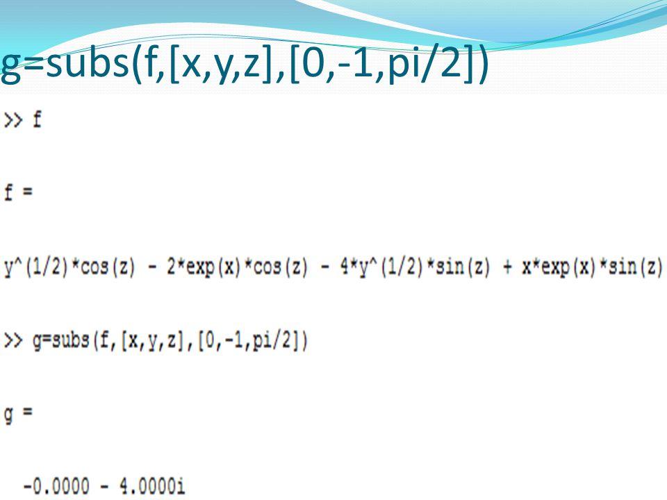 g=subs(f,[x,y,z],[0,-1,pi/2])