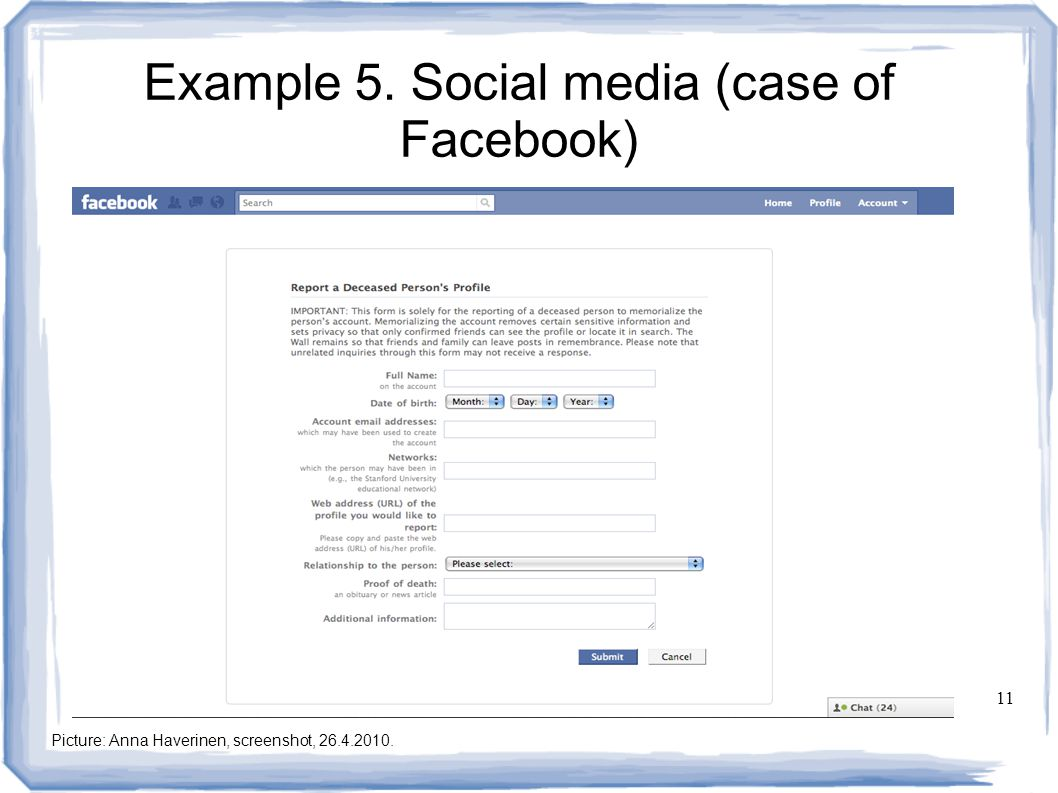 11 Example 5. Social media (case of Facebook) Picture: Anna Haverinen, screenshot, 26.4.2010.