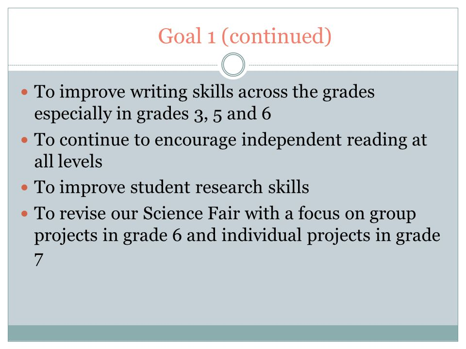 Goal 1 (continued) To improve writing skills across the grades especially in grades 3, 5 and 6 To continue to encourage independent reading at all levels To improve student research skills To revise our Science Fair with a focus on group projects in grade 6 and individual projects in grade 7