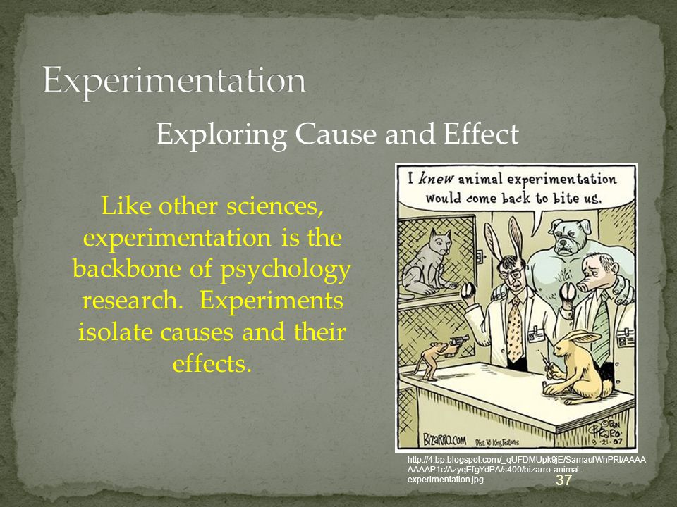 Like other sciences, experimentation is the backbone of psychology research. Experiments isolate causes and their effects. 37 Exploring Cause and Effe