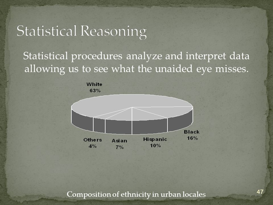 47 Statistical procedures analyze and interpret data allowing us to see what the unaided eye misses. Composition of ethnicity in urban locales
