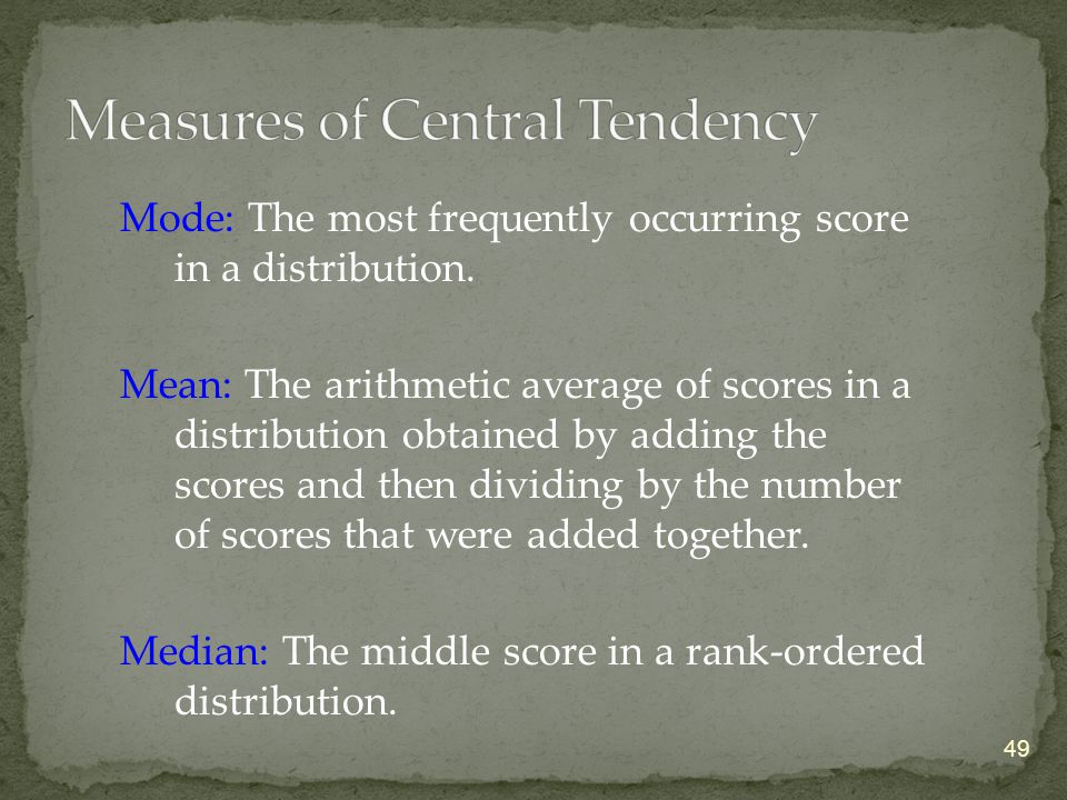 Mode: The most frequently occurring score in a distribution.