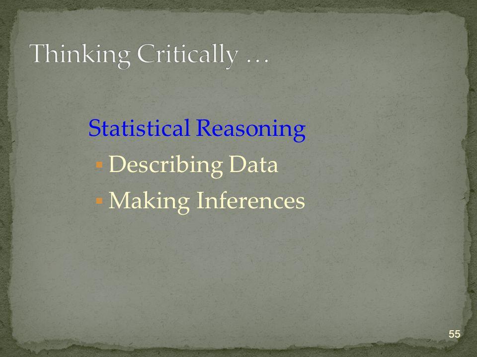 Statistical Reasoning  Describing Data  Making Inferences 55