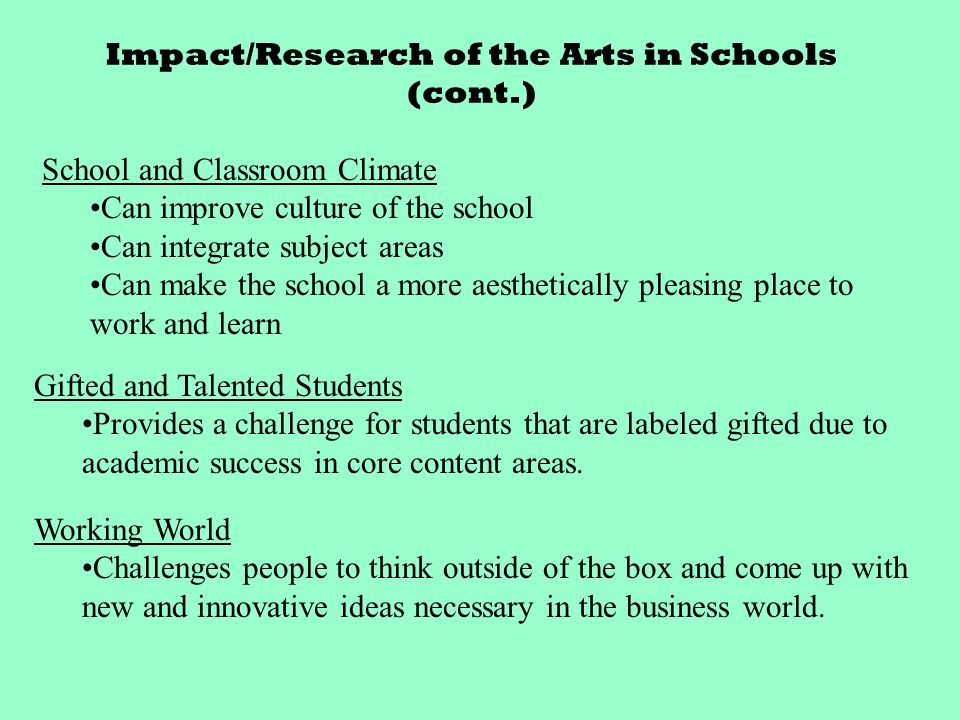 Research Article 2 Learning in and Through the Arts: The Question of Transfer Purpose of the Study Determine cognitive skills developed by art Assuming relationship between arts and core content based on transfer due to interactive relationship between the areas Examine relationship with social issues and everyday occurrences 12 diff types of schools with over 200 students