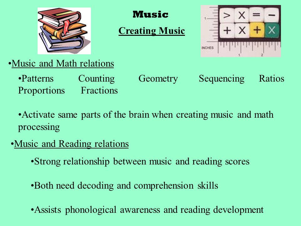 Music Creating Music Music and Math relations PatternsCountingGeometrySequencingRatios Proportions Fractions Activate same parts of the brain when creating music and math processing Music and Reading relations Strong relationship between music and reading scores Both need decoding and comprehension skills Assists phonological awareness and reading development
