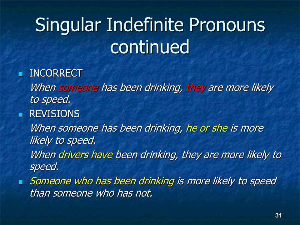 Singular Indefinite Pronouns continued INCORRECT INCORRECT When someone has been drinking, they are more likely to speed.