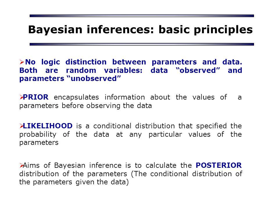 Bayesian inferences: basic principles  No logic distinction between parameters and data.