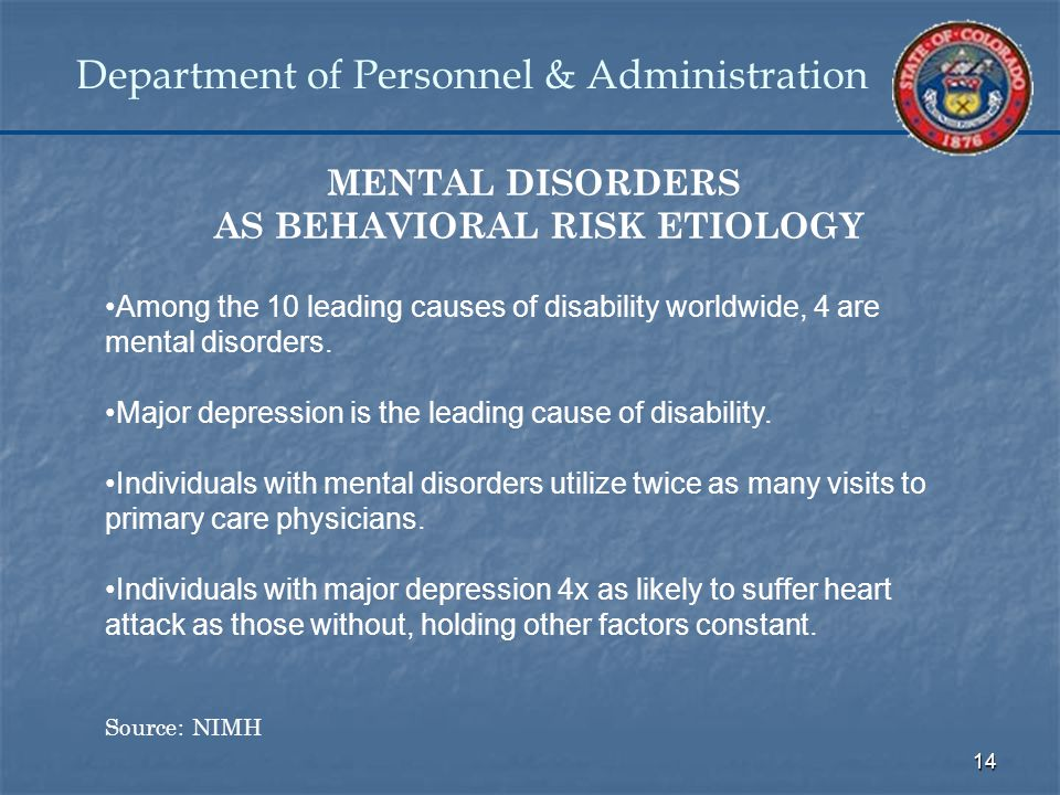 14 Department of Personnel & Administration MENTAL DISORDERS AS BEHAVIORAL RISK ETIOLOGY Among the 10 leading causes of disability worldwide, 4 are mental disorders.