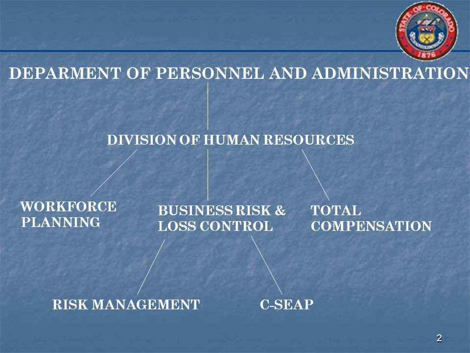 2 DEPARMENT OF PERSONNEL AND ADMINISTRATION DIVISION OF HUMAN RESOURCES WORKFORCE PLANNING TOTAL COMPENSATION BUSINESS RISK & LOSS CONTROL C-SEAPRISK MANAGEMENT