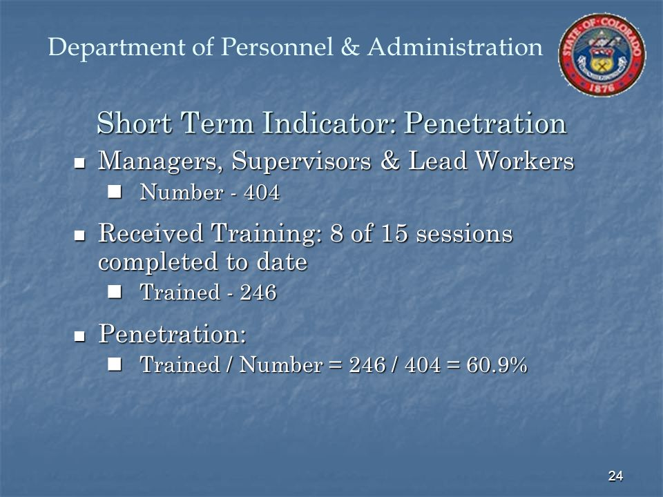 24 Short Term Indicator: Penetration Managers, Supervisors & Lead Workers Managers, Supervisors & Lead Workers Number - 404 Number - 404 Received Training: 8 of 15 sessions completed to date Received Training: 8 of 15 sessions completed to date Trained - 246 Trained - 246 Penetration: Penetration: Trained / Number = 246 / 404 = 60.9% Trained / Number = 246 / 404 = 60.9% Department of Personnel & Administration