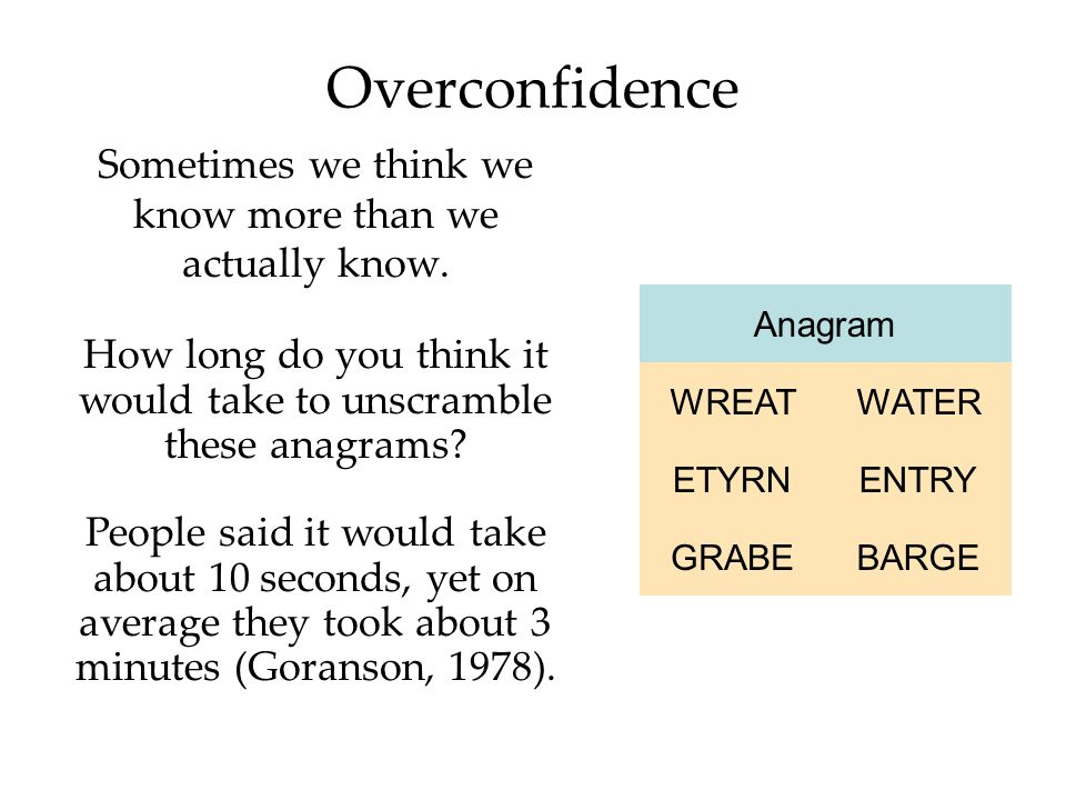 Overconfidence Sometimes we think we know more than we actually know.