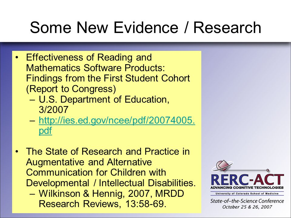 Some New Evidence / Research Effectiveness of Reading and Mathematics Software Products: Findings from the First Student Cohort (Report to Congress) –