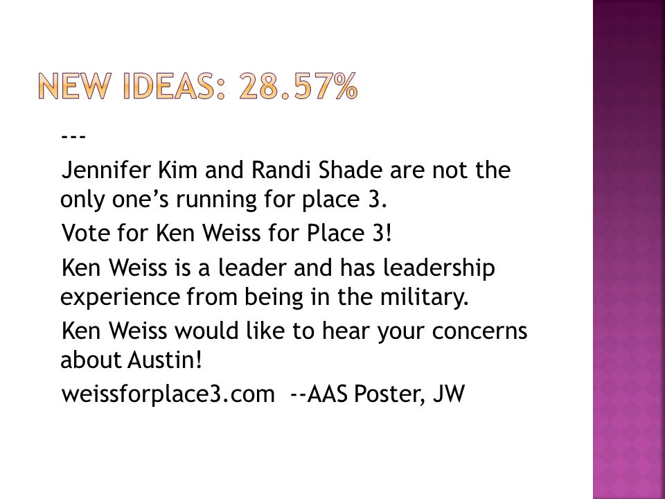 --- Jennifer Kim and Randi Shade are not the only one's running for place 3.