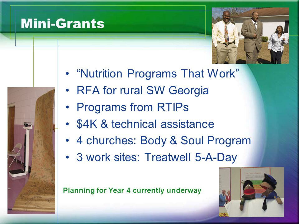 Mini-Grants Process Evaluation Aims: Assess to what extent the sites implemented interventions with fidelity Generate lessons learned to inform potential future mini-grant dissemination activities.