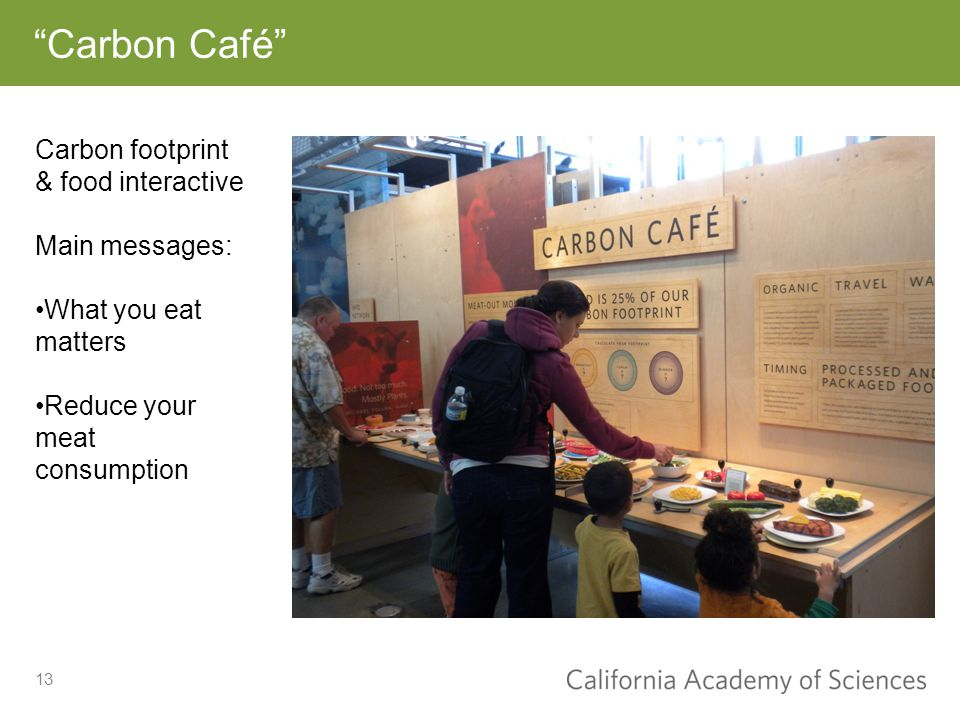 13 Carbon Café Carbon footprint & food interactive Main messages: What you eat matters Reduce your meat consumption