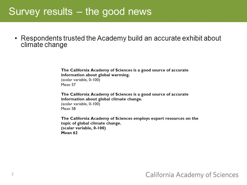 7 Survey results – the good news Respondents trusted the Academy build an accurate exhibit about climate change