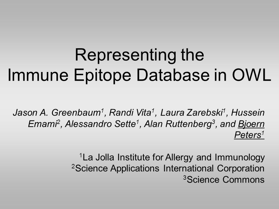 Representing the Immune Epitope Database in OWL Jason A.