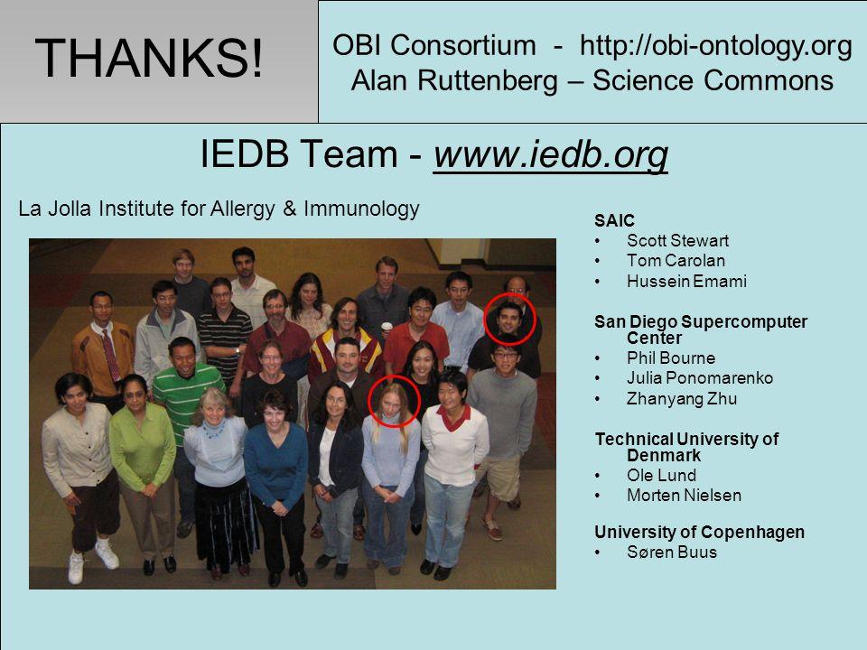 IEDB Team - www.iedb.org SAIC Scott Stewart Tom Carolan Hussein Emami San Diego Supercomputer Center Phil Bourne Julia Ponomarenko Zhanyang Zhu Techni