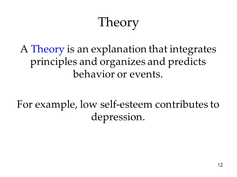 12 A Theory is an explanation that integrates principles and organizes and predicts behavior or events.