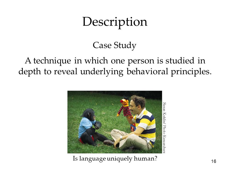 16 Description Case Study A technique in which one person is studied in depth to reveal underlying behavioral principles.