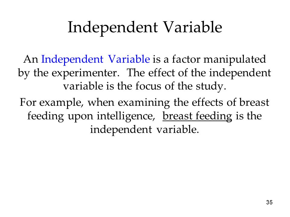 35 An Independent Variable is a factor manipulated by the experimenter.