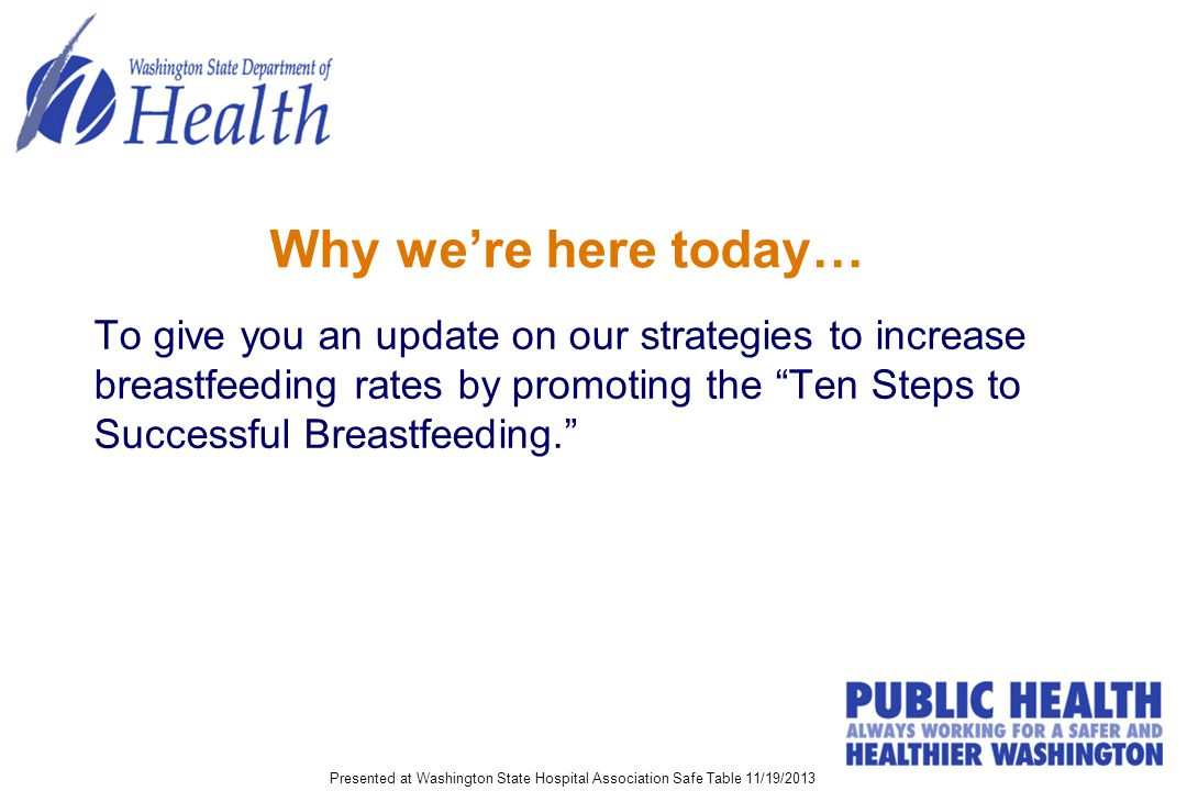 Why we're here today… To give you an update on our strategies to increase breastfeeding rates by promoting the Ten Steps to Successful Breastfeeding. Presented at Washington State Hospital Association Safe Table 11/19/2013