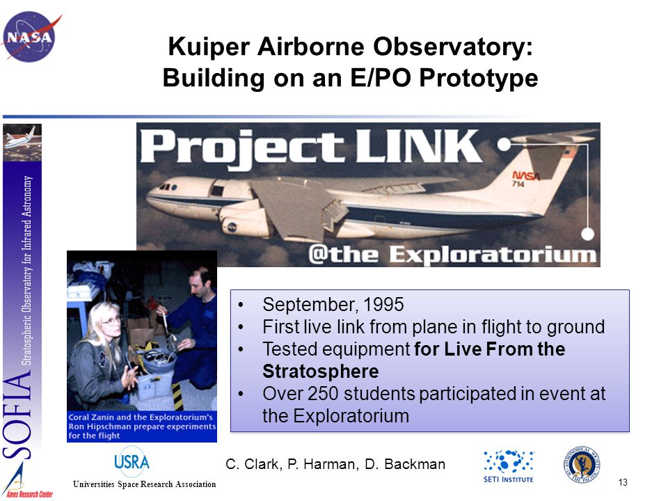 13 Universities Space Research Association Kuiper Airborne Observatory: Building on an E/PO Prototype C.