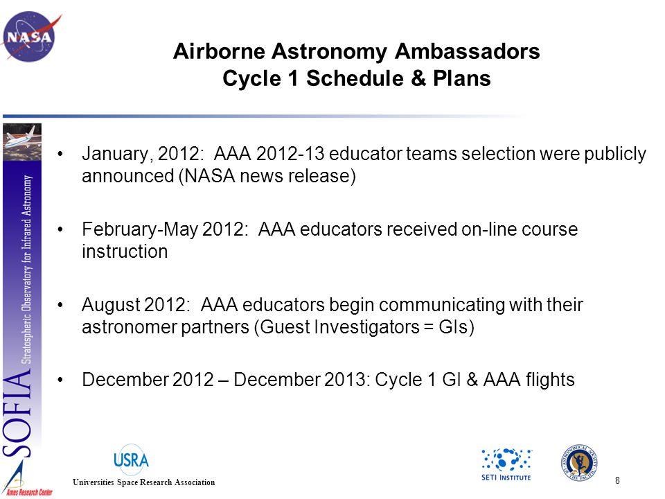 SOFIA E/PO Airborne Astronomy Ambassadors Cycle 1 cohort selections announced Jan.