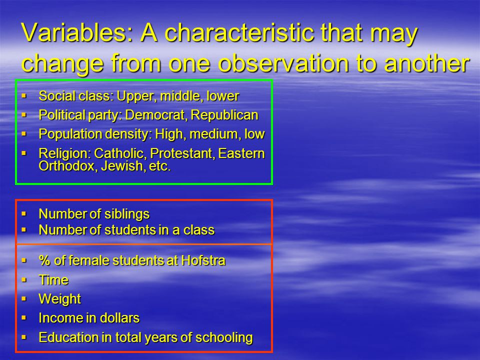 Variables: A characteristic that may change from one observation to another  Social class: Upper, middle, lower  Political party: Democrat, Republican  Population density: High, medium, low  Religion: Catholic, Protestant, Eastern Orthodox, Jewish, etc.