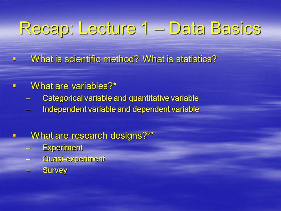 Recap: Lecture 1 – Data Basics  What is scientific method.