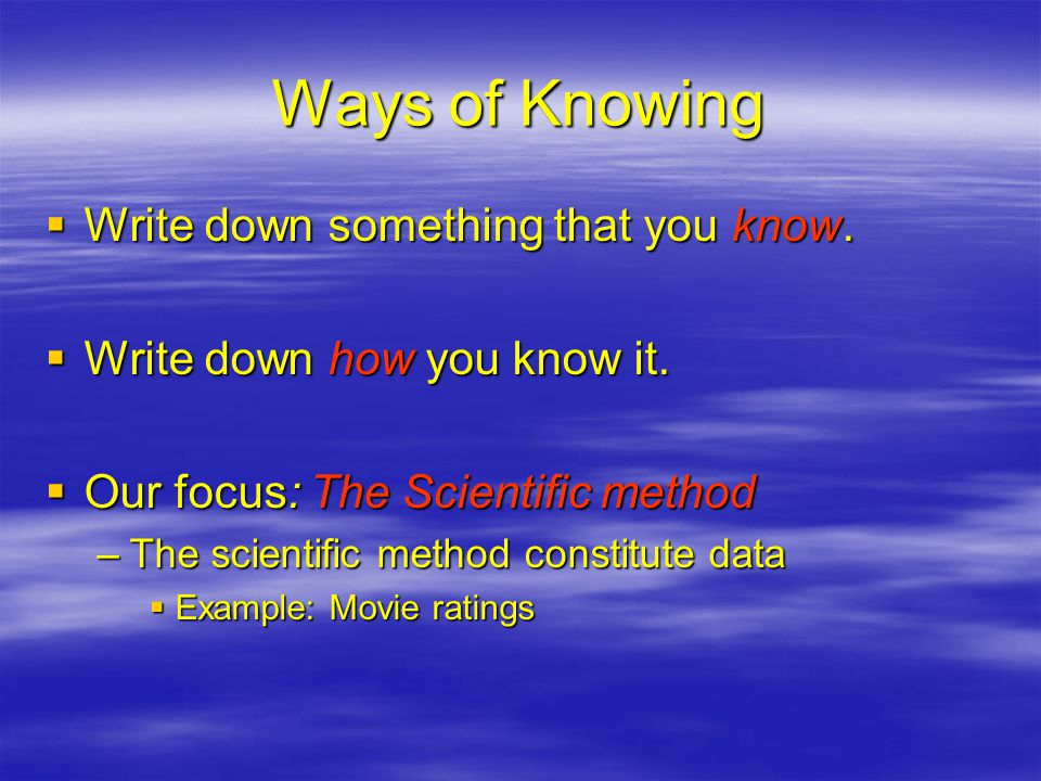 Ways of Knowing  Write down something that you know.