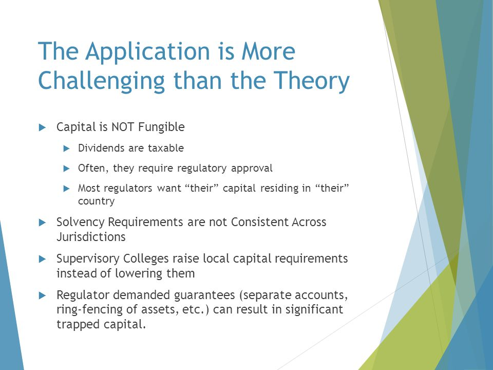 The Application is More Challenging than the Theory  Capital is NOT Fungible  Dividends are taxable  Often, they require regulatory approval  Most