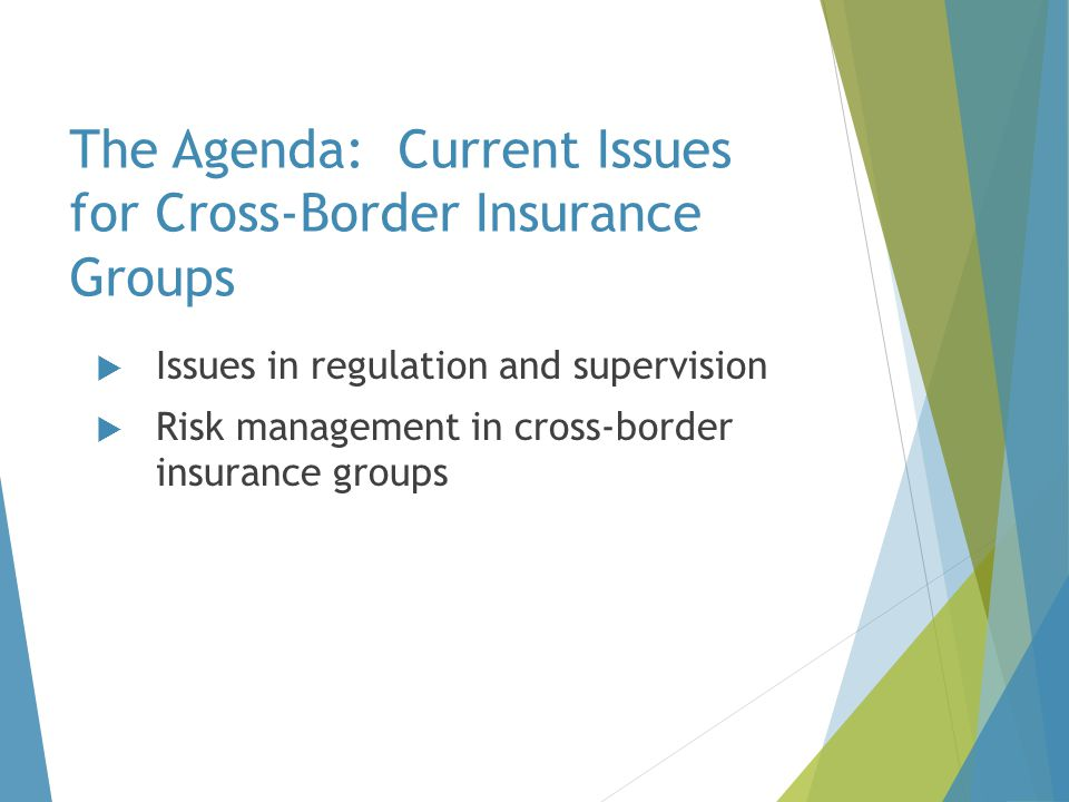 The Agenda: Current Issues for Cross-Border Insurance Groups  Issues in regulation and supervision  Risk management in cross-border insurance groups