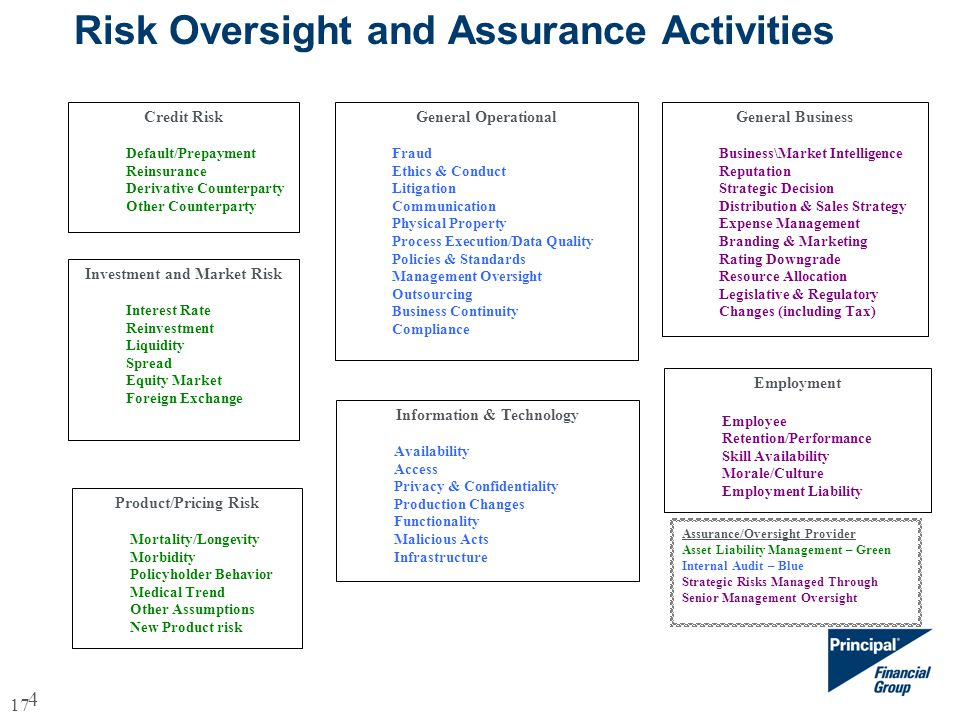 4 Risk Oversight and Assurance Activities Credit Risk Default/Prepayment Reinsurance Derivative Counterparty Other Counterparty General Business Business\Market Intelligence Reputation Strategic Decision Distribution & Sales Strategy Expense Management Branding & Marketing Rating Downgrade Resource Allocation Legislative & Regulatory Changes (including Tax) General Operational Fraud Ethics & Conduct Litigation Communication Physical Property Process Execution/Data Quality Policies & Standards Management Oversight Outsourcing Business Continuity Compliance Investment and Market Risk Interest Rate Reinvestment Liquidity Spread Equity Market Foreign Exchange Product/Pricing Risk Mortality/Longevity Morbidity Policyholder Behavior Medical Trend Other Assumptions New Product risk Information & Technology Availability Access Privacy & Confidentiality Production Changes Functionality Malicious Acts Infrastructure Employment Employee Retention/Performance Skill Availability Morale/Culture Employment Liability Assurance/Oversight Provider Asset Liability Management – Green Internal Audit – Blue Strategic Risks Managed Through Senior Management Oversight 17