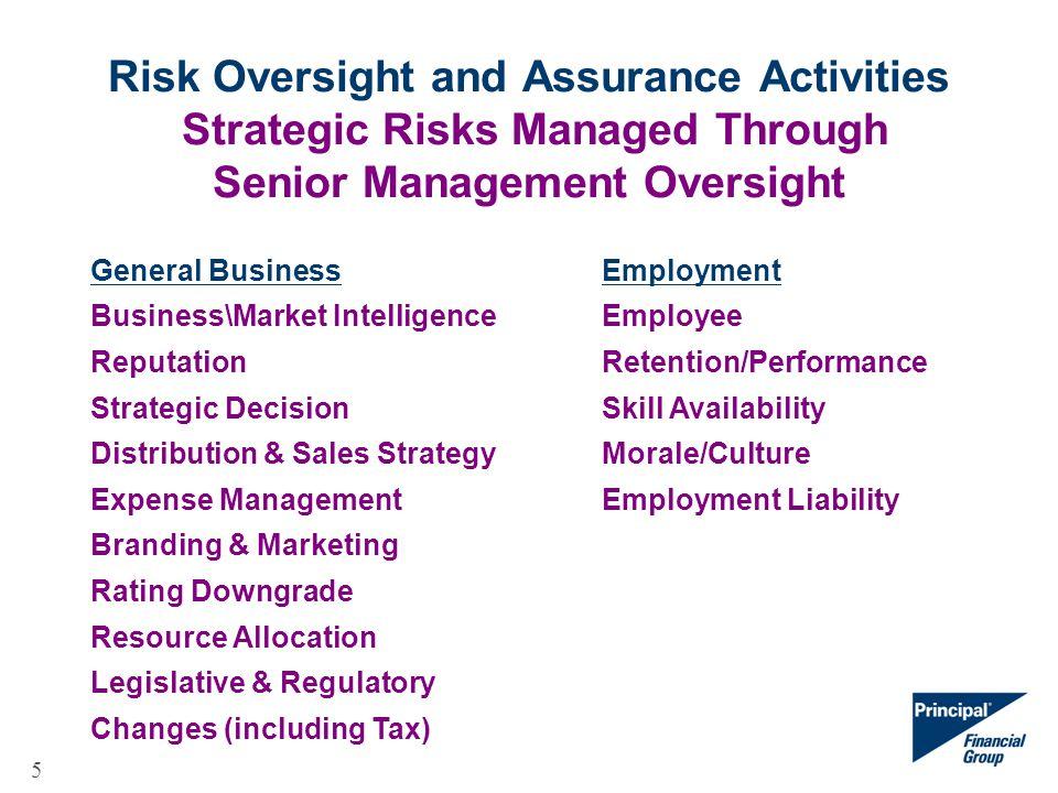 5 Risk Oversight and Assurance Activities Strategic Risks Managed Through Senior Management Oversight General BusinessEmployment Business\Market Intel