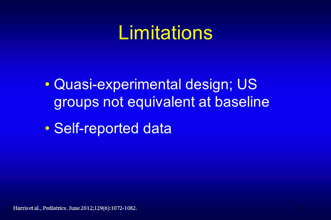 21 Limitations Quasi-experimental design; US groups not equivalent at baseline Self-reported data 211.