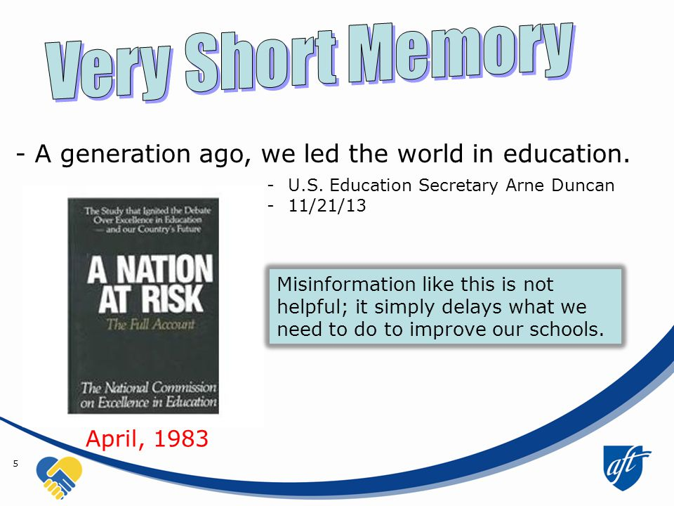 5 - A generation ago, we led the world in education.