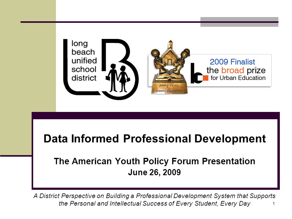 1 Data Informed Professional Development The American Youth Policy Forum Presentation June 26, 2009 A District Perspective on Building a Professional Development System that Supports the Personal and Intellectual Success of Every Student, Every Day