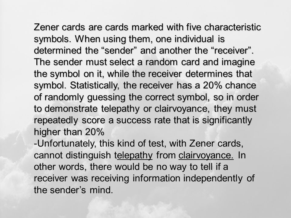 Zener cards are cards marked with five characteristic symbols.