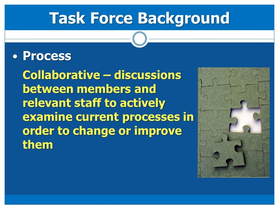 Process Process Collaborative – discussions between members and relevant staff to actively examine current processes in order to change or improve the