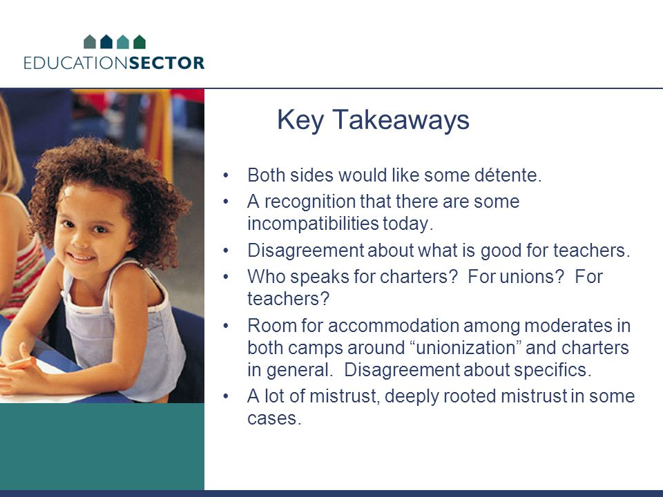 Key Takeaways Both sides would like some détente. A recognition that there are some incompatibilities today. Disagreement about what is good for teach