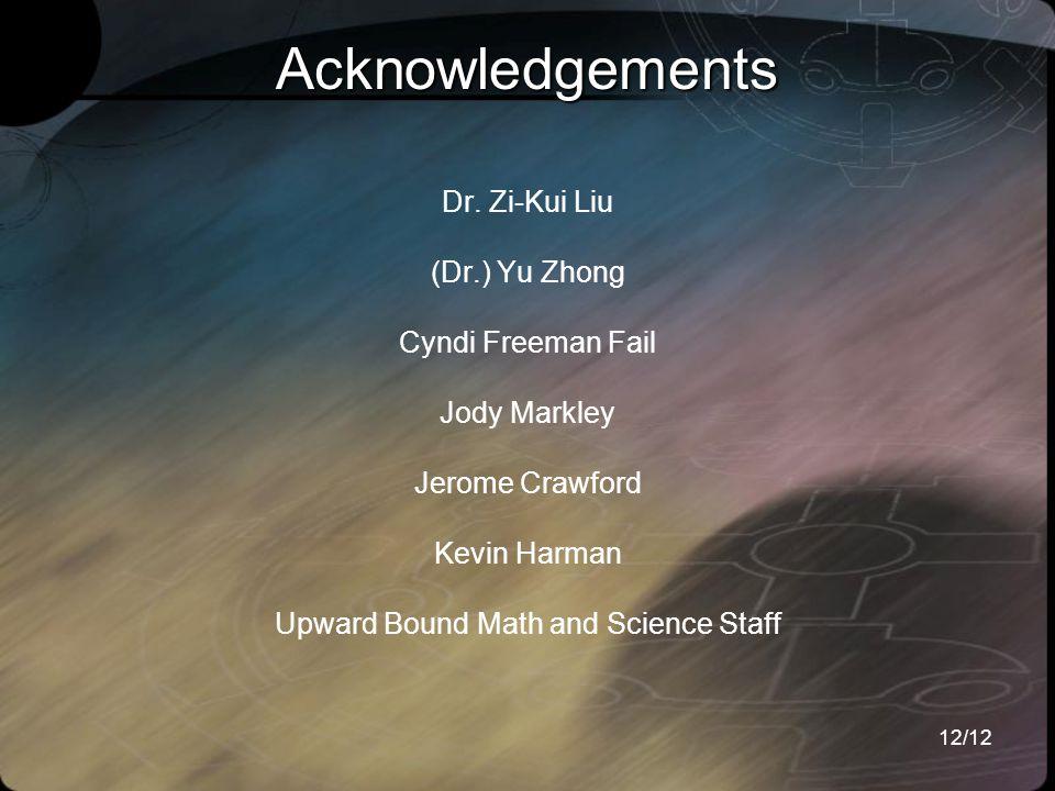 12/12 Dr. Zi-Kui Liu (Dr.) Yu Zhong Cyndi Freeman Fail Jody Markley Jerome Crawford Kevin Harman Upward Bound Math and Science Staff Acknowledgements