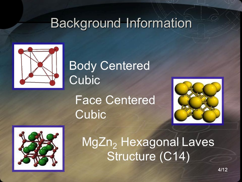 4/12 Background Information Face Centered Cubic Body Centered Cubic MgZn 2 Hexagonal Laves Structure (C14)