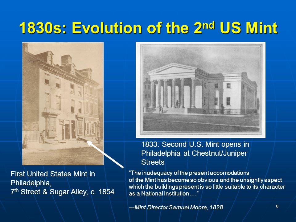 8 1830s: Evolution of the 2 nd US Mint The inadequacy of the present accomodations of the Mint has become so obvious and the unsightly aspect which the buildings present is so little suitable to its character as a National Institution…. ---Mint Director Samuel Moore, 1828 First United States Mint in Philadelphia, 7 th Street & Sugar Alley, c.