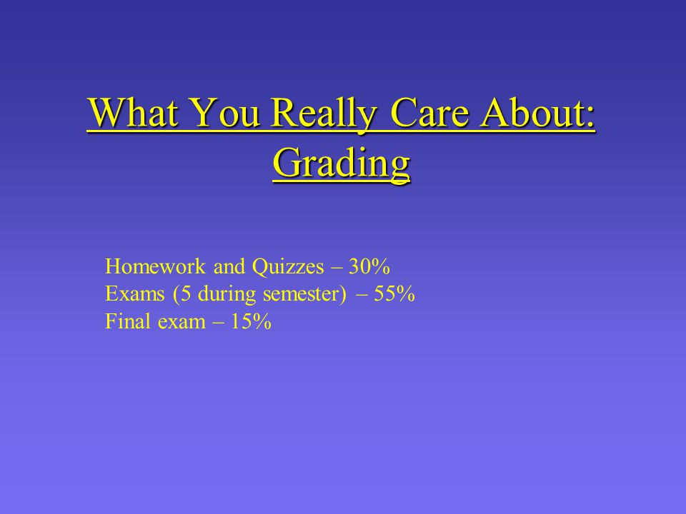 What You Really Care About: Grading Homework and Quizzes – 30% Exams (5 during semester) – 55% Final exam – 15%