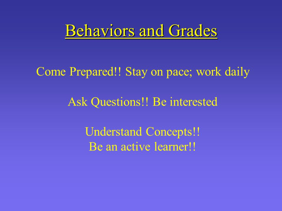 Behaviors and Grades Come Prepared!! Stay on pace; work daily Ask Questions!! Be interested Understand Concepts!! Be an active learner!!